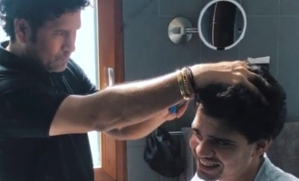 Sachin Tendulkar dons new avatar gives son Arjun a haircut