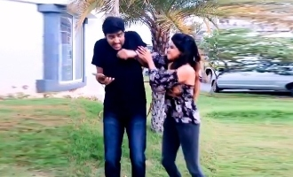 Sakshi Agarwal gives beating to comedy actor Sathish in shooting spot - Video goes viral