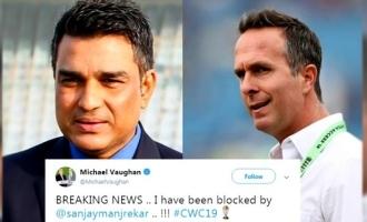 sanjay manjrekar blocks michael vaughan twitter