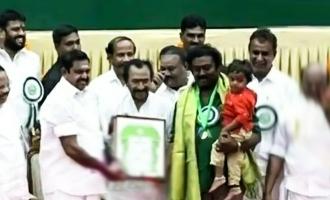 'Bigg Boss 3' Saravanan comes out with son to receive Kalaimamani Awards