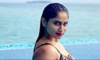 Actress Shivani Narayanan bikini monokini swimming dress pics images photos Maldives Bigg Boss 4