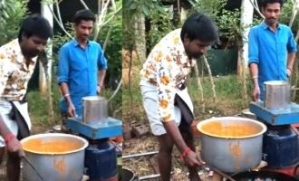 படக்குழுவினர்களுக்கு பஜ்ஜி சுட்டு கொடுத்த பிரபல நடிகர்: வைரலாகும் வீடியோ