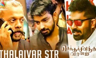 Thalaivar STR | Mahat & Gautham Menon Spotted at Chekka Chivantha Vaanam FDFS