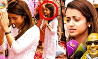 Trisha Visits Karunanidhi's Burial Site and Pays Homage