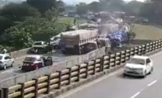 tamil nadu dharmapuri salem four people killed after truck rammed into vehicles highway video accident caught cctv