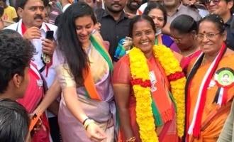 [VIDEO] Namitha dances to Vijay's 'Vaathi Coming' at election rally