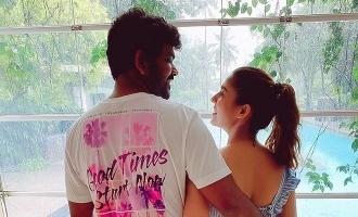 Vignesh Sivan romance pose in his birthday with Nayan