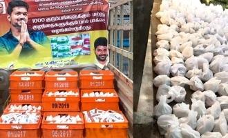 1000 பால் பாக்கெட்டுக்கள், 250 குடும்பங்களுக்கு காய்கறிகள்: அசத்தும் விஜய் ரசிகர்கள்