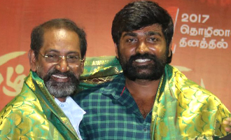 Vijay Sethupathi and SP Jananathan at Ulagayutha Foundation
