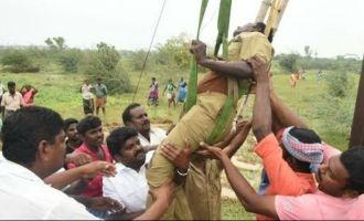 Minister Vijayabhaskar rescues wounded EB technician in Gaja Cyclone relief works