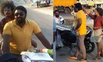 Cooku with comali pughaz with vijay sethupathi in bike photo viral