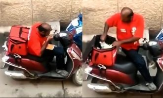 zomato food delivery guy tampers with food removed