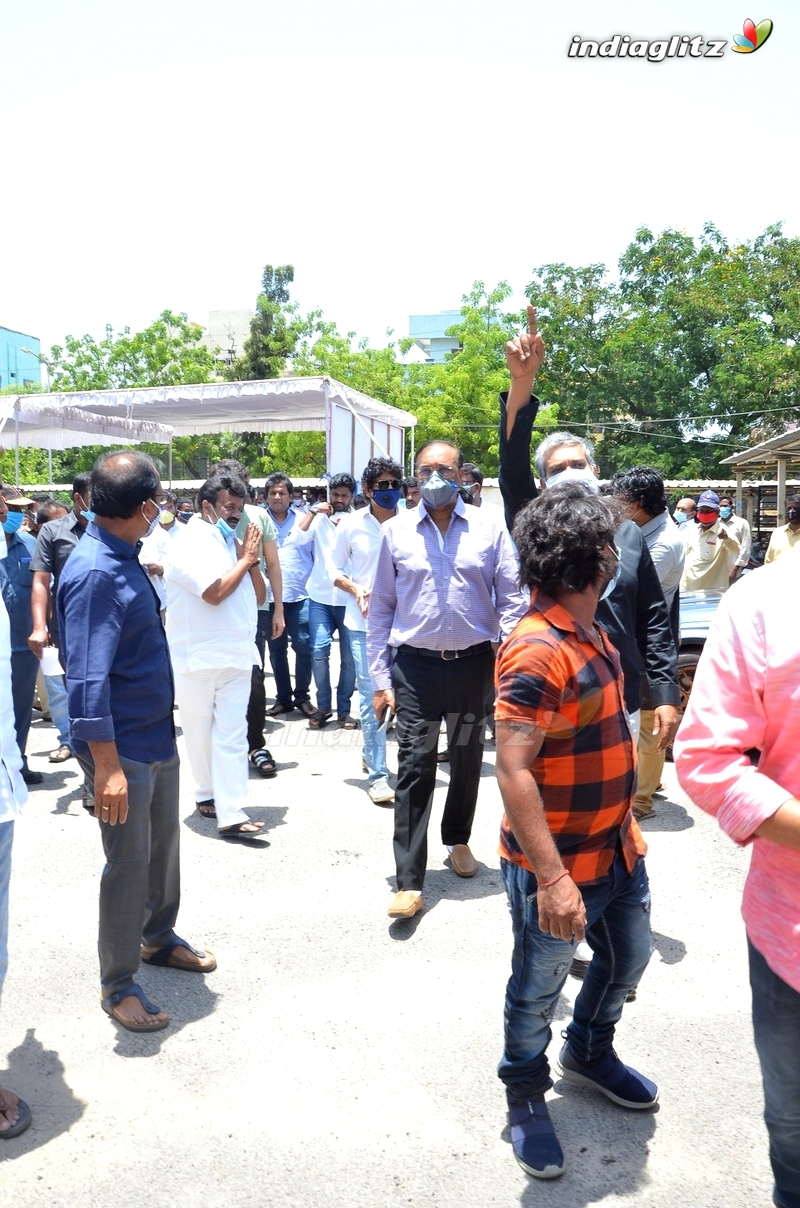 Celebs @ Talasani Srinivas Distributing Groceries To Cine Workers