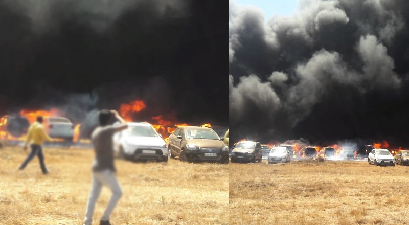 300 cars gutted in fire during Yelahanka Aeroshow in Bengaluru