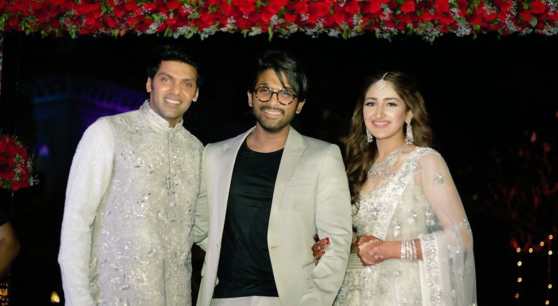 Allu Arjun hugs Arya and Sayyeshaa Saigal