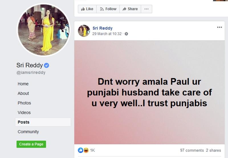 Sri Reddy angers Amala Pauls fans