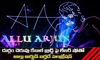 Allu Arjun Birthday Laser Show Celebrations at Durgam Cheruvu Cable Bridge