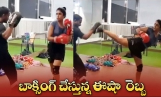 Actress Eesha Rebba Doing Boxing Workout At GYM