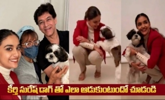Actress Keerthy Suresh Playing with Her Pet Dog |