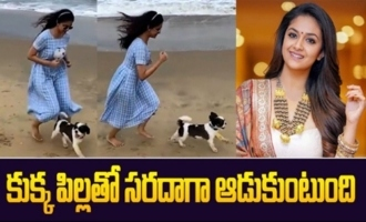 Actress Keerthy Suresh Playing with her Pet Dog at Beach | Keerthy Suresh