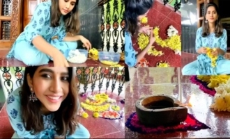 Actress Nabha Natesh Making Ganesh With Flowers | IG Telugu