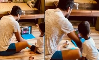 Actor Nani Helping To His Son Junnu In His First Online Class