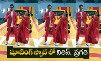 Actress Pragathi Super Fun With Actor Nithiin At Movie Shoot