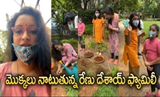 Renu Desai Planting Plants With Her Daughter Aadhya