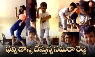 Actress Sameera Reddy Dancing With Her Kids | Cutest Video
