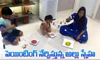 Allu Arjun Wife Sneha Reddy Painting With Her Kids |
