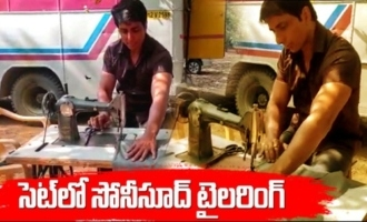 Sonu Sood trying to stitches his cloths at Chiranjeevi Achaya movie sets
