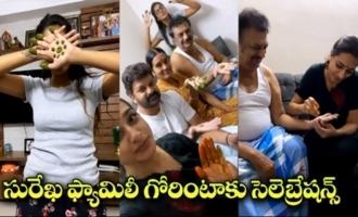 Actress Surekha Vani Putting Mehendi To Her Father