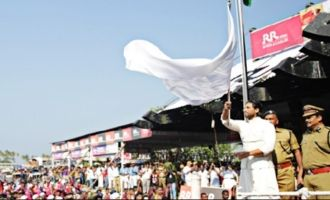 Bunny waves the flag at event