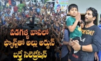 Allu Arjun birthday celebration with fans in rain & hail storm
