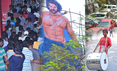 'Baahubali 2' Prabhas Fans Hungama at Sudarshan Theater, Hyd