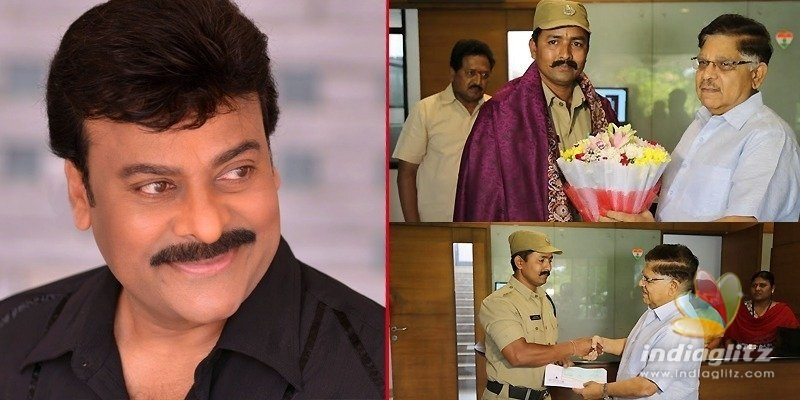 Chiranjeevi gives away Rs 1 lakh to brave firefighter