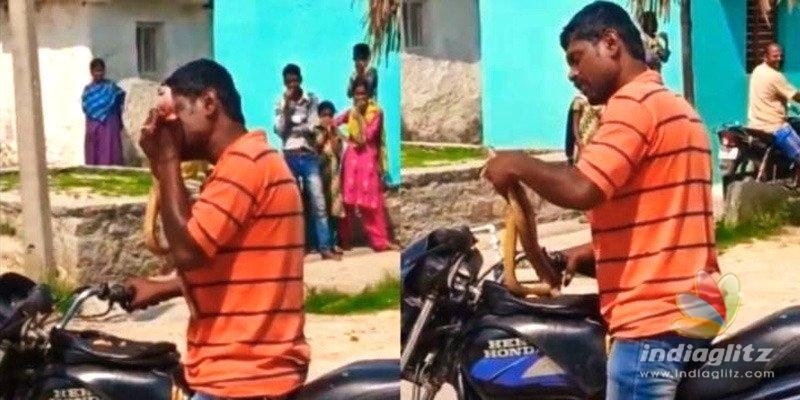Karnataka: Man bites snake into pieces out of anger!