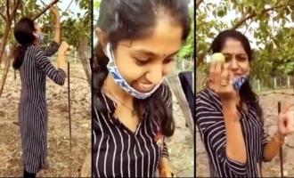Singer Madhu Priya Plucking Guava Fruit