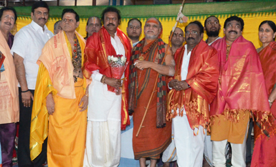 Mohan Babu Visits Film Nagar Temple As Chairman