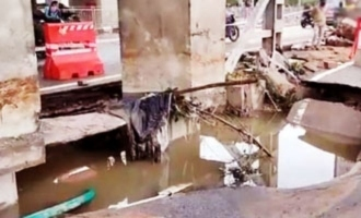 Shocking! Rains damage road near Moosapet metro pillars