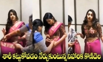 Niharika Konidela Learning How To Wear Saree From Mother | NIharika Konidela Engagement