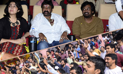 Balakrishna and Puri Jagannadh Watch 'Paisa Vasool' At Bramaramba Theater,Hyd