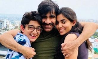 Pic Talk: Ravi Teja poses with daughter & son'