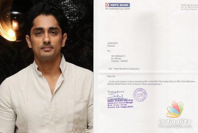 Siddharth floats Kerala Donation Challenge