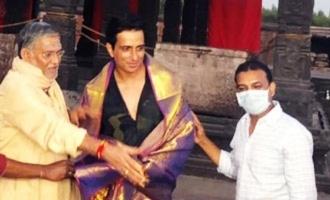 Pic Talk Acharya team welcomes Sonu Sood with felicitation