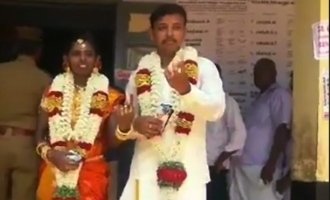 Newly-wed couple rush to polling booth to vote