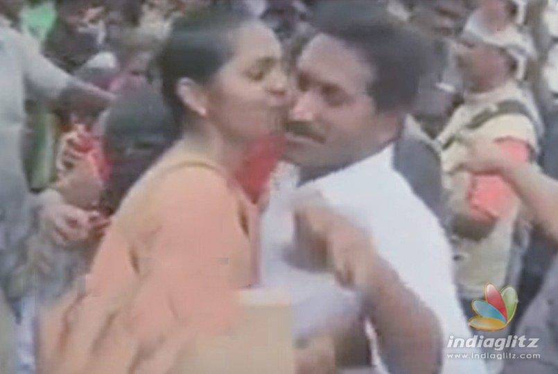 Young girl kisses Jagan suddenly, surprises all - Telugu